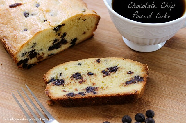 Chocolate Chip Pound Cake - an easy dessert idea! FULL of chocolate chips! #desserts #poundcake #chocolate