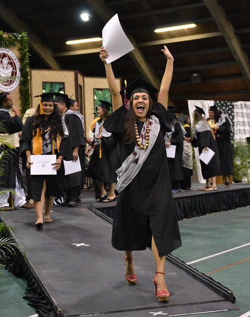 "<p>Many students were elated as they walked off the stage after receiving their diplomas during the commencement ceremony in Hilo on May 16, 2014. For more photos go to <a href=""https://www.flickr.com/photos/53092216@N07/sets/72157644742196091/"">www.flickr.com/photos/53092216@N07/sets/72157644742196091/</a></p>"