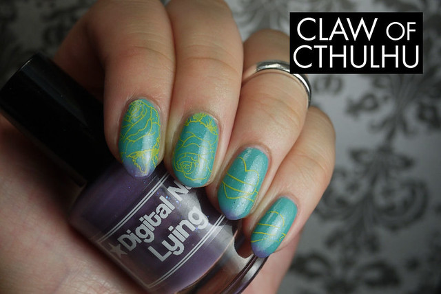 Digital Nails Lying Swatch with Nailz Craze Stamping