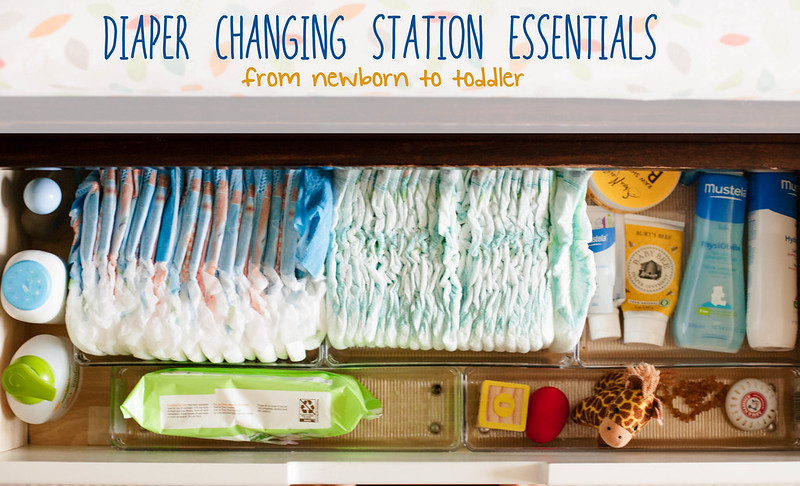 cute & little blog | diaper changing station essentials -- from newborn to toddler