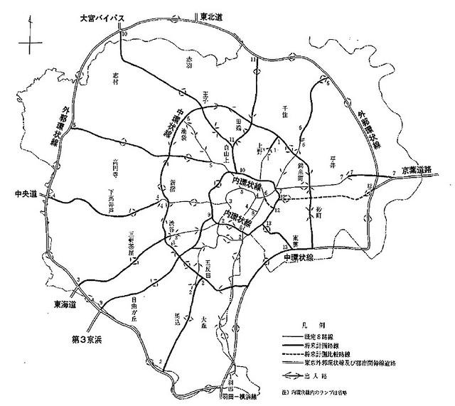 昭和37年の首都高速道路計画図