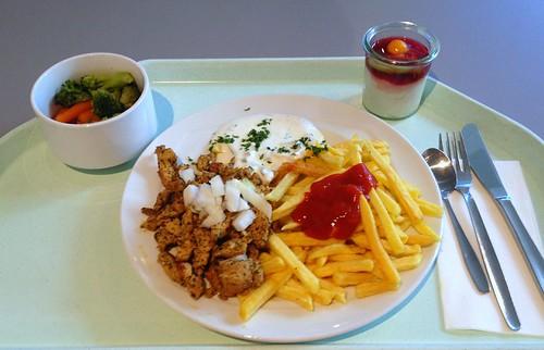 Putengyros mit Tzatziki & Pommes Frites / Turkey gyros with tzatziki & french fries