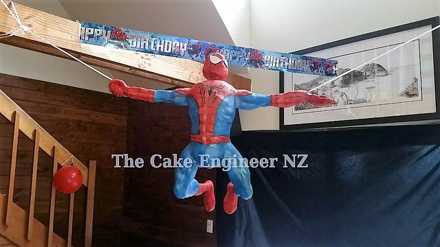 Hanging Spiderman Cake by Sandy Tucker of The Cake Engineer NZ