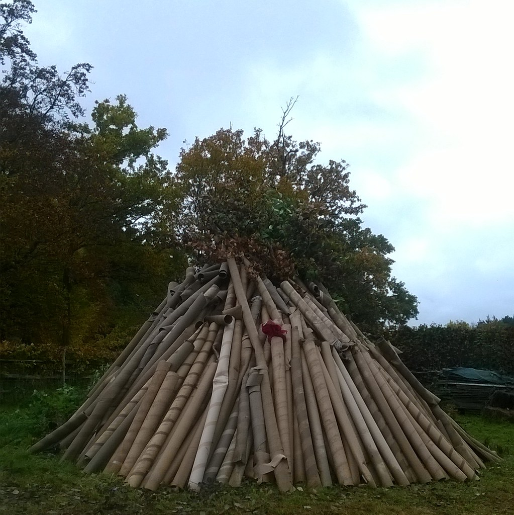 A bonfire under construction