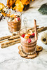 Pumpkin chocolate mousse with cinnamon, almonds and berries
