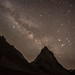 The Milky Way Galaxy and Mars above Gumburanjun, a sacred mountain in the Zanskar Valley. by Leonid Plotkin