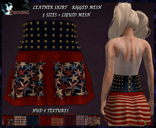 *P* MESH Studded Leather Skirt ~USA HUD~