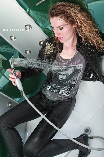 fully clothed wet girl