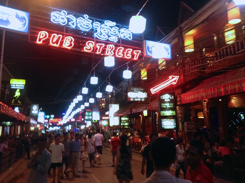 pub street in Siem Reap, a hopping place with 50 cent draft beers all over, all day