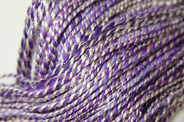Threads And Fibers Mail: Purple Merino, Glitter Thread And Seaweed Fibers