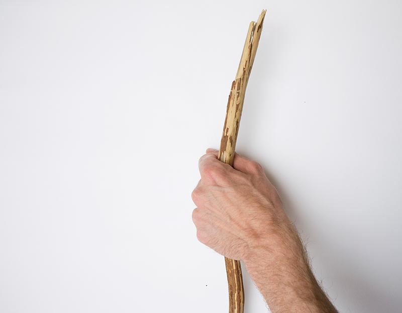 Walking stick (detail), wood, duration12 hours, 2013.