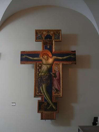 DSCN3415 _ Croce di pinta con la Madonna  orante fra due angeli, san francesco e sant'Elena, Maestro dei  Crocefissi Francescani, c 1254