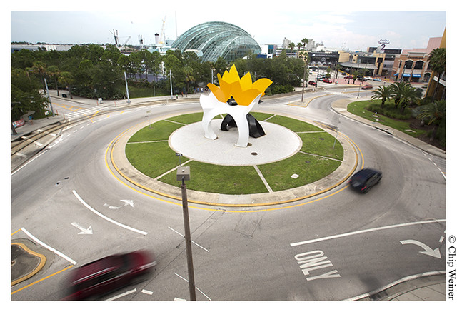 Traffic circle with chicken 07-23-13