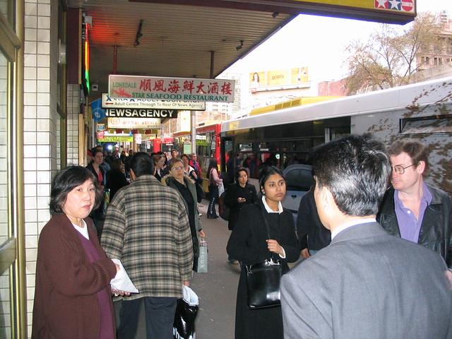 Lonsdale Street main bus stop at Swanston Street, 2003