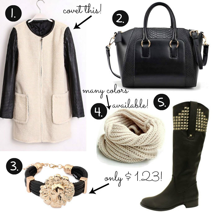 affordable leather sleeved coat, lion bracelet, knee lenght boots with spikes, tube circle scarf knitted, crocodile pattern bag, ebay UK, ebay US