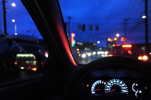 0 to 0 in forever, waiting at the stop light, waiting for Godot, car dashboard, lights, open window, lights, night, Seattle, Washington, USA by Wonderlane