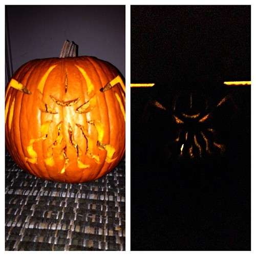Finished! It needs a brighter candle, but I've done Cthulhu. #pumpkin #cthulhu #halloween