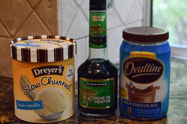 The ingredients to make the dessert on a kitchen counter.
