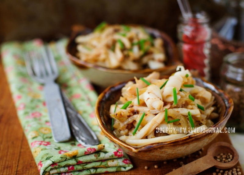 Fried Squid with Onions and Chives, vintage effect