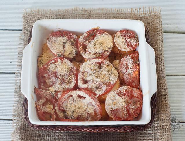gratinado de patata y tomate