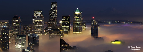 Foggy Seattle Night Panorama
