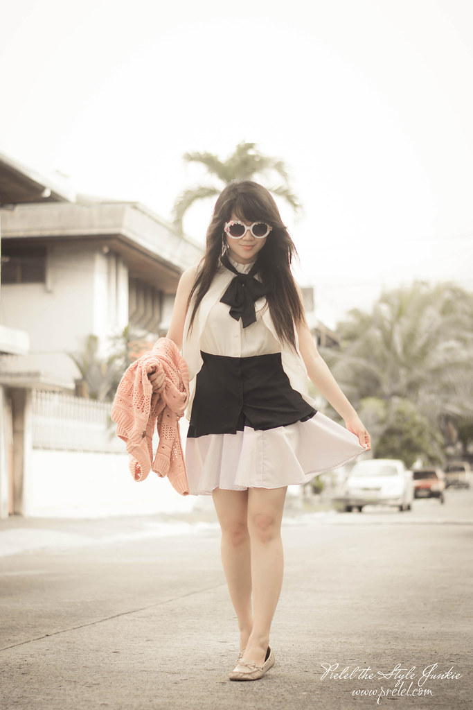 black, white and pink outfit
