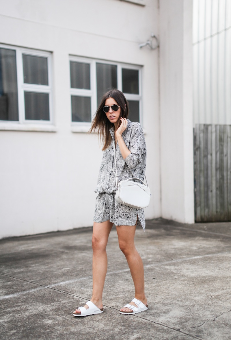 modern legacy fashion style blogger australia outfit street style willow print shirt dress white birkenstocks alexander wang rafael bag monochrome bare legs (3 of 9)