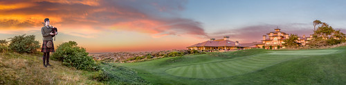 california ca sunset panorama beach architecture golf bag landscape bay pacific pano course pebble spanish carmel piper links hdr bagpiper spanishbay