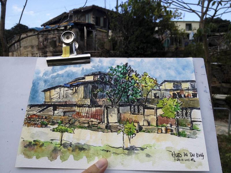 Sketching Huts in Sai Kung