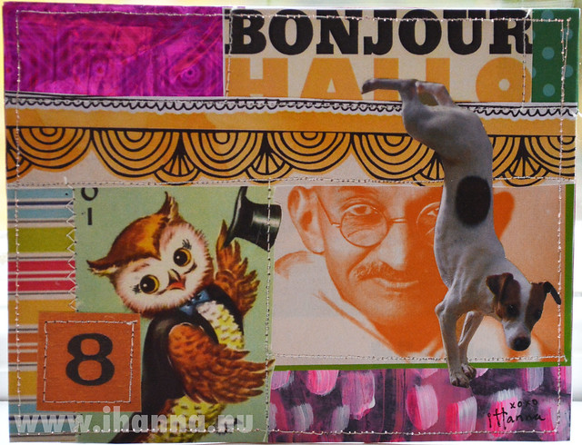 DIY Postcard Pop Art Collage - Wise Old Owl