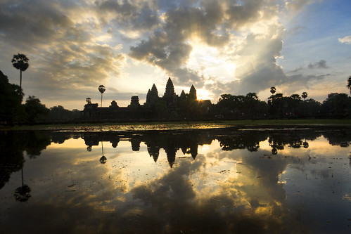sky reflection water clouds sunrise canon cambodia angkorwat 7d