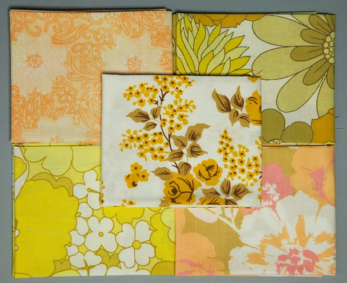 Yellow and Orange Fat Quarter Bundle of Vintage Sheets