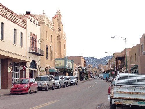 A street in Santa Fe (with the Lensic Art Center at left)