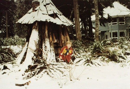 "Jason on the ""front porch"" of the gnome house of our Issaquah home 1992. Our first snow. by abaesel"