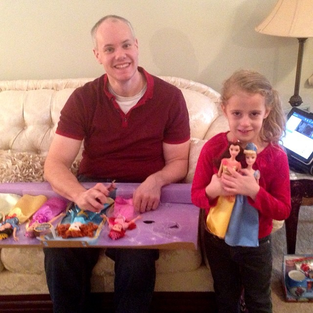 We are finally opening gifts!! Autumn got all the princesses!!!