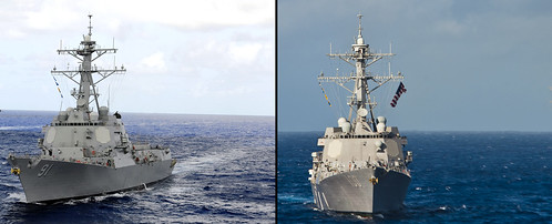 ((on left) USS Pinckney (ddg 91), USS Kidd (ddg100) (on right))