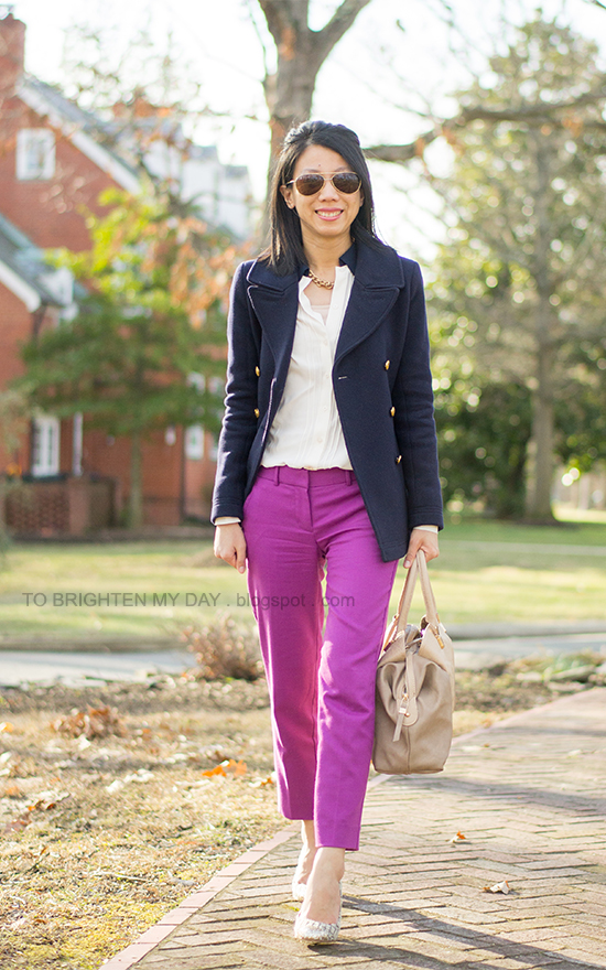 navy peacoat, neutral blouse, fuchsia pants, tweed + glitter pumps
