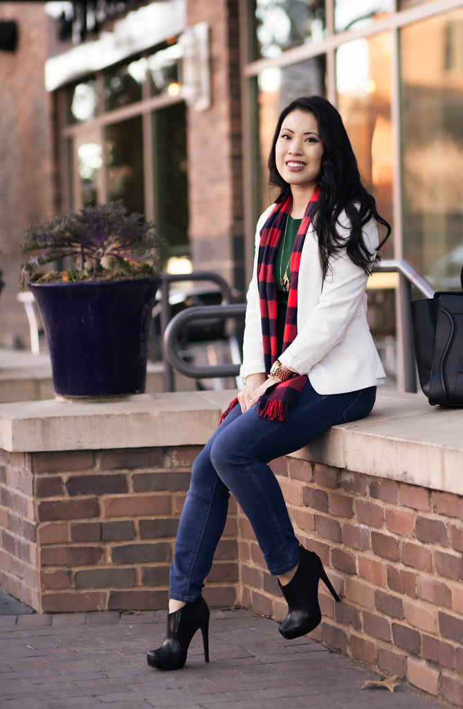 cute & little blog | white blazer, buffalo plaid scarf, green sweater, skinny jeans, black ankle boots, casual outfit