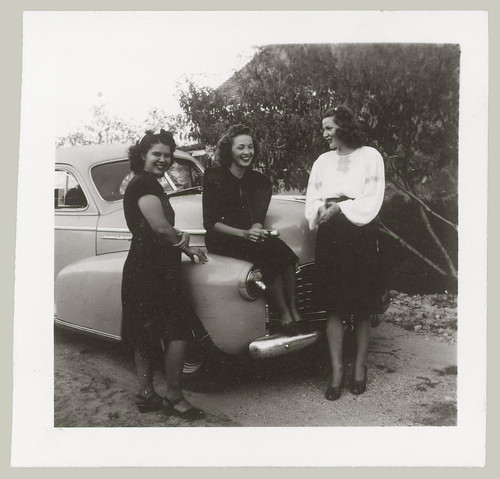 Three women and a car