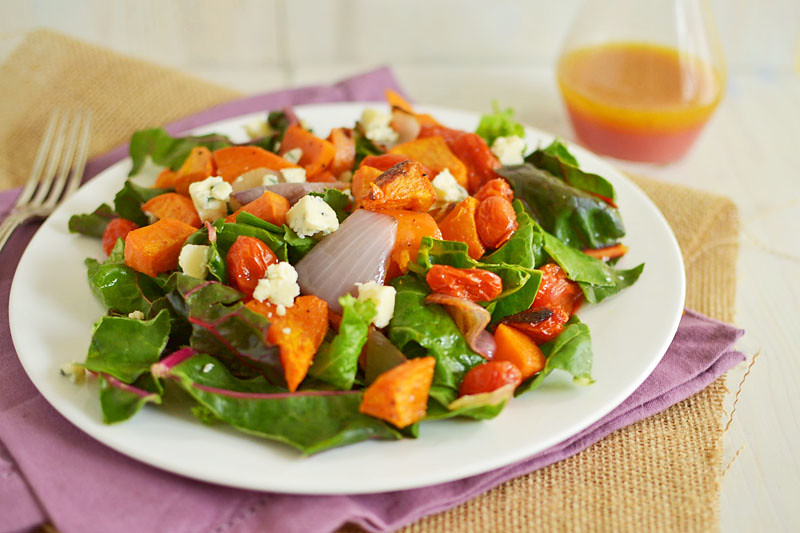 Winter Sweet Potato Salad with Blood Orange Vinaigrette via LittleFerraroKitchen.com