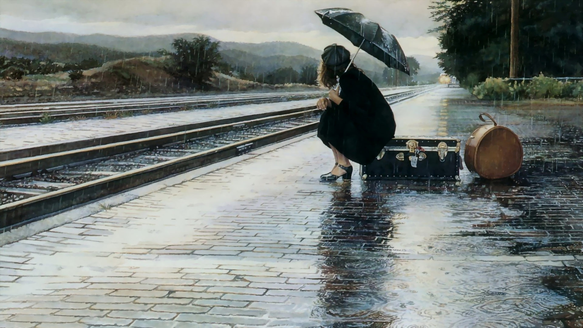 Waiting for Train in Rain - Top 10 HD Raindrop Wallpapers for Your Desktop