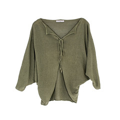 Batwing Pullover with Strings - Khaki