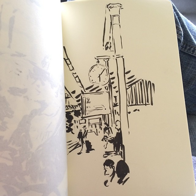 The train has arrived, o have no time to finish #pentel #urbansketch