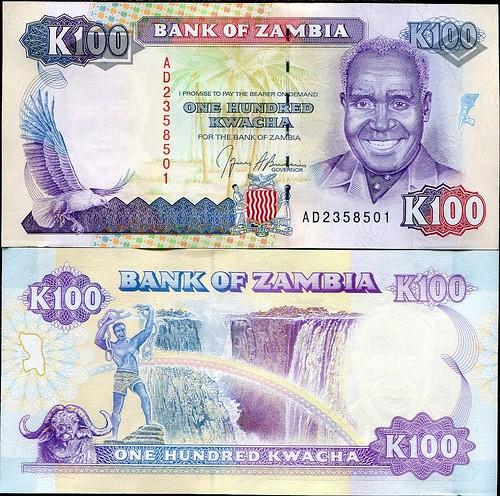 100 Kwacha Zambia 1991, Pick 34