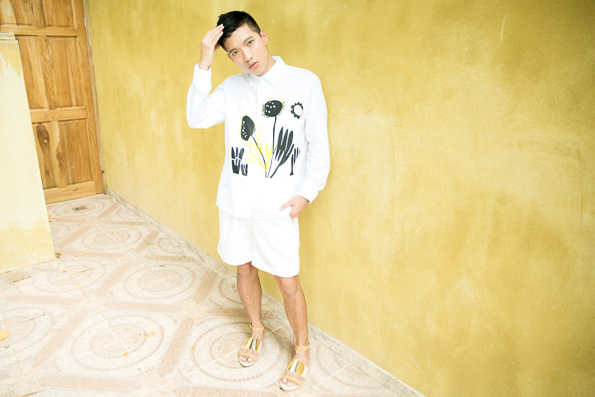 Bryanboy wearing a spring summer 2014 Marni shirt and shorts in Costa Rica
