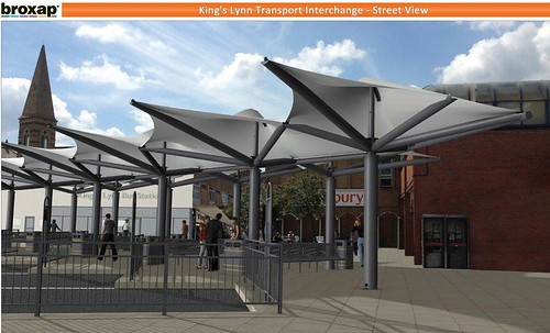 King's Lynn Transport Interchange artists impression showing proposed canopies over new departure bays © Broxap/BCKLWN