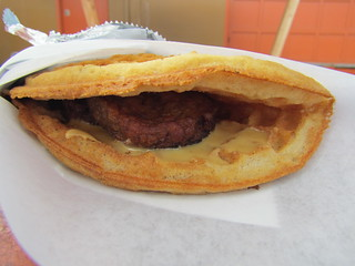 Vegan Waffle Sandwich (sausage, maple cream, waffle) at Flavor Spot