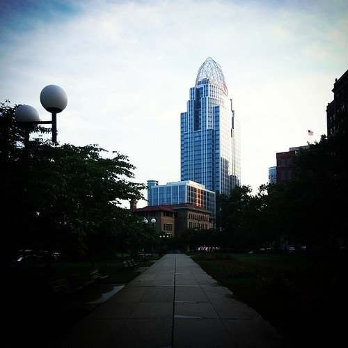 Great America Tower as seen from Lytle Park on a pretty evening in downtown Cincinnati...