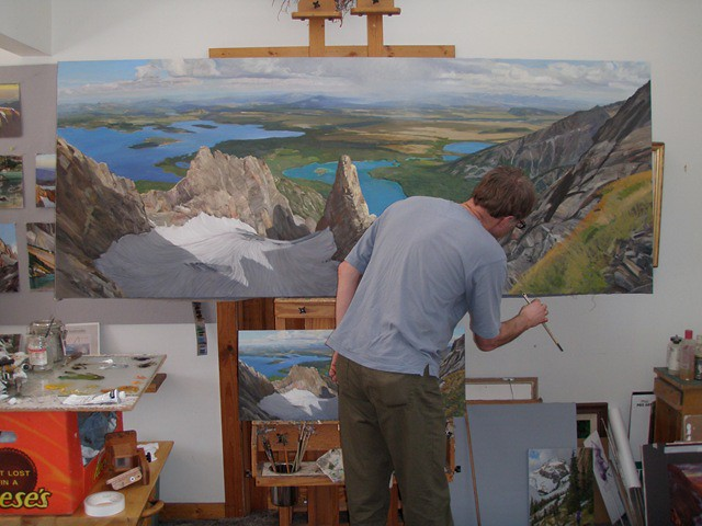 """Here is a studio shot of me working on the larger version of """"CMC Route, Mt. Moran"""". This is 'after the grasses shot.'"""