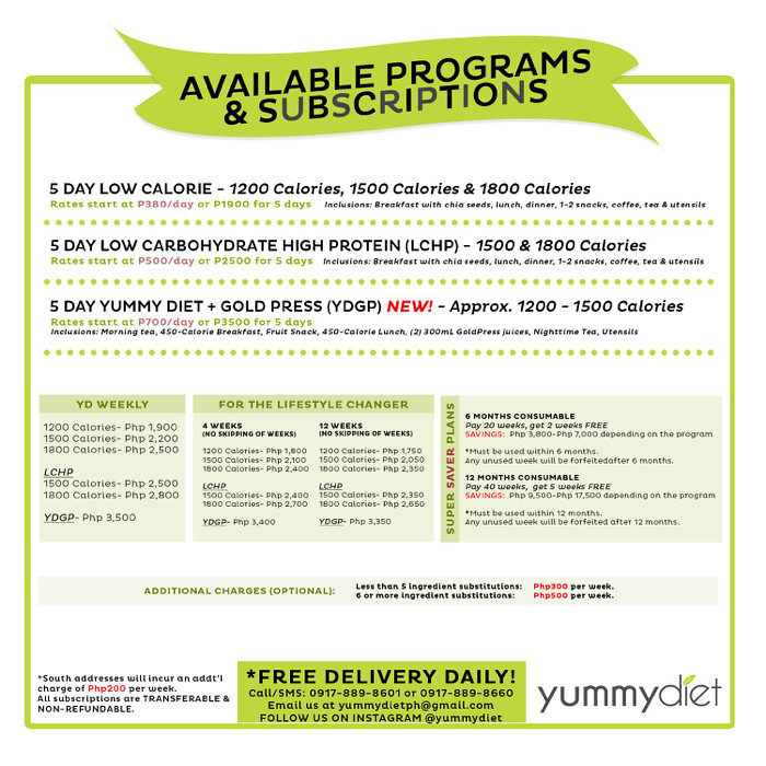 Yummy Diet offer various types of 5-day meal plans such as Low Calorie  (1200 calories a day - P1900), Low Carb-High Protein (1500 & 1800 calories  a day ...
